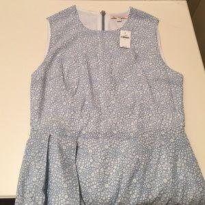 Blue white-flowered summer dress