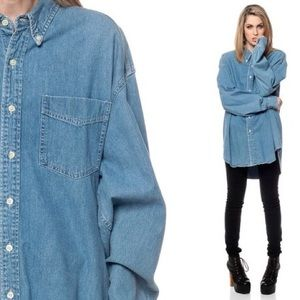 Oversized Denim Collared Shirt
