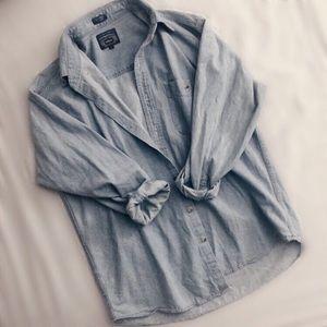 Tops - Oversized Denim Collared Shirt