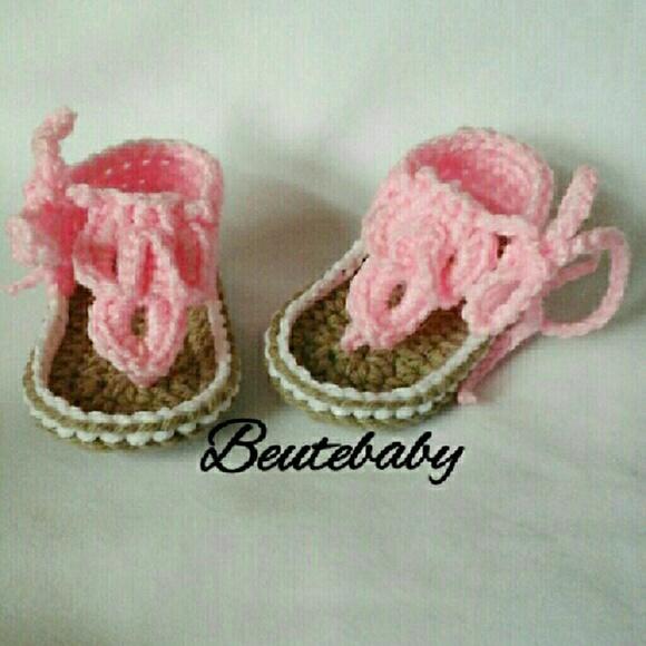 aca28ed29cbf5 Crochet baby sandals 3 month Boutique