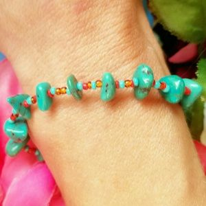 Vintage  Jewelry - Vintage Turquoise Coral Signed Toggle Bracelet