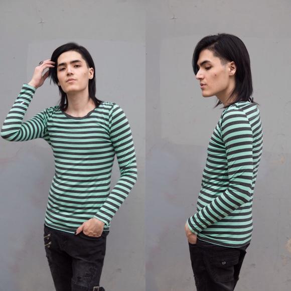 Rue21 Tops - 💚Mint Green Grey Stripe Longsleeve Stretchy Cute