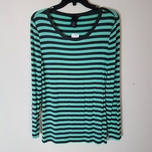 💚Mint Green Grey Stripe Longsleeve Stretchy Cute