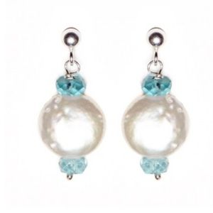 Satya Jewelry Jewelry - Satya Jewelry Aquamarine Freshwater Earrings