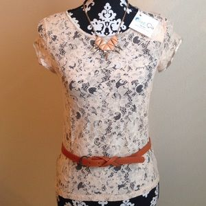C'est Ca New York Tops - NWT Lace Front Chiffon Back Blouse