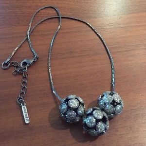 Nine West Glitter ball hematite necklace
