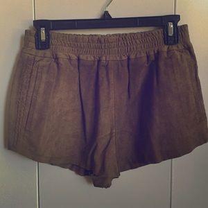 Topshop Kate Moss Leather Suede Shorts