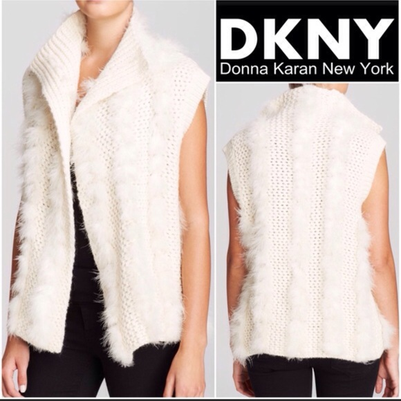 DKNY  355  Alpaca Wool Ivory Knit Vest Cardigan 2860232e5
