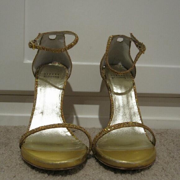 72ecc77be32 Stuart Weitzman Nudist Gold Glitter Heels Size 9