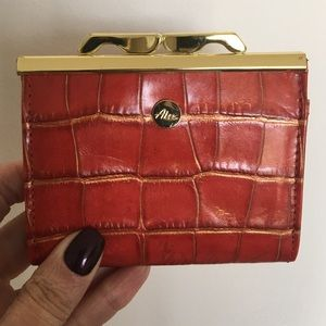 Abas Accessories - Abas Red/Gold Croc Embossed Framed Coin Purse