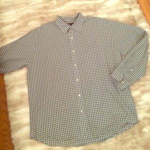 Blue and green checked men's shirt. Size L