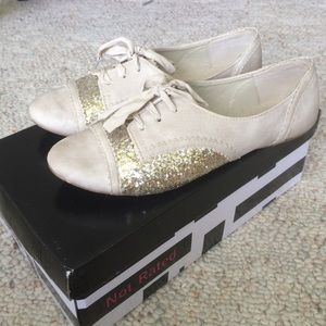 Not Rated Shoes - Cream and Glitter Oxford Flats