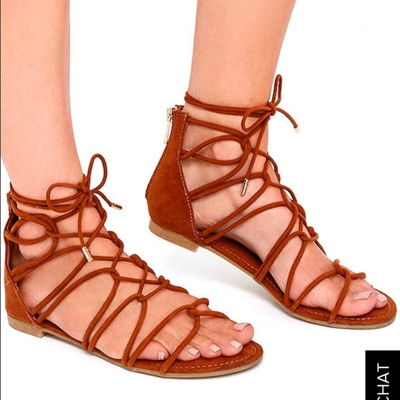 9170d5d4170d Bamboo chestnut lace up gladiator sandal clearance