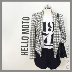 ZARA • black and white check moto jacket blazer
