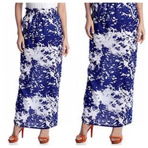 LaRoque for Belk Blue & White Maxi Skirt Sz 4
