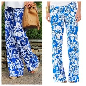 Lilly Pulitzer Blue & White Palazzo Pants Sz XS