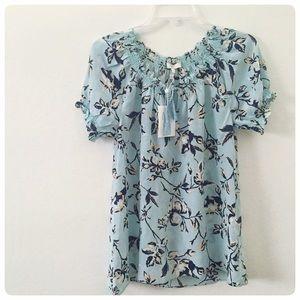 Abstract floral silk shirt