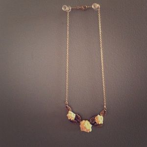 Gold Chained White Rose Necklace