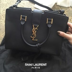 bnwt saint laurent black small monogram leather clutch shoulder bag ysl