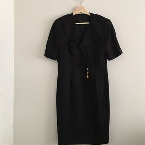VINTAGE Black Ruffle Dress