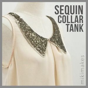 [ lolo's boutique ] cream tank with sequins collar