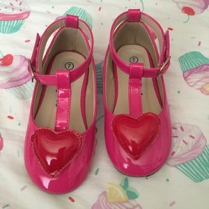 Toddler Puff Heart T Strap Flats 7
