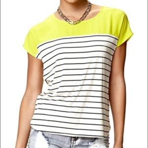 FOREVER 21 Striped Combo Tee