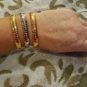 Steel by Design ~ 3 Tri-color stretch Bracelets