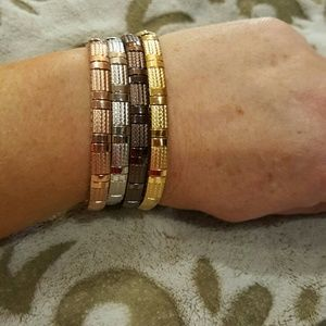 Steel by Design ~ 4 stretch-style bangle bracelets