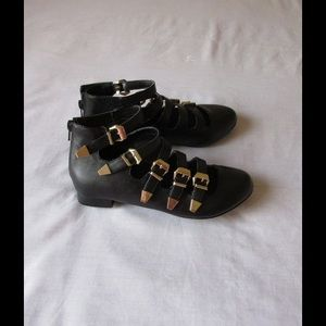 Penny Sue  Shoes - Black Round Toe Strappy Ankle Leather Booties