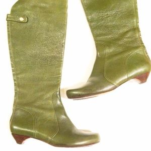 Jeffrey Campbell Shoes - Kelly Green Leather Knee Boots