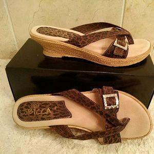 Sbicca Shoes - Sbicca leopard print wedge sandals
