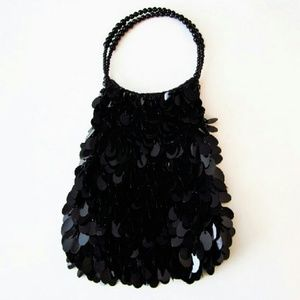 Bag Large Sequins Black Beaded handles