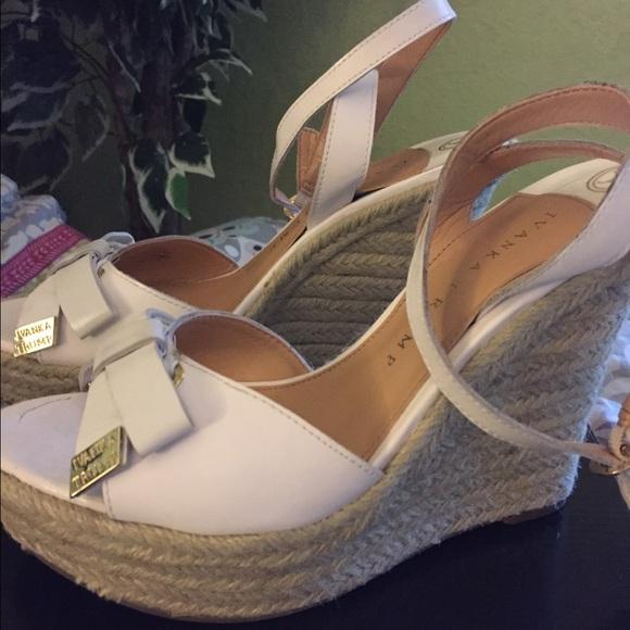 Ivanka Trump white wedge sandal size 6.5/ 7