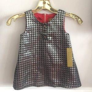 NEW Nicole Miller Kids Silver Houndstooth Dress