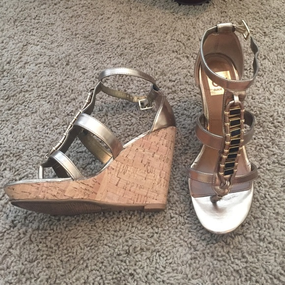 133a03e185b DV by Dolce Vita Shoes - DV by Dolce Vita gold wedges with black detail