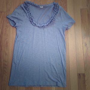 J Crew Factory t shirt with ruffle trim