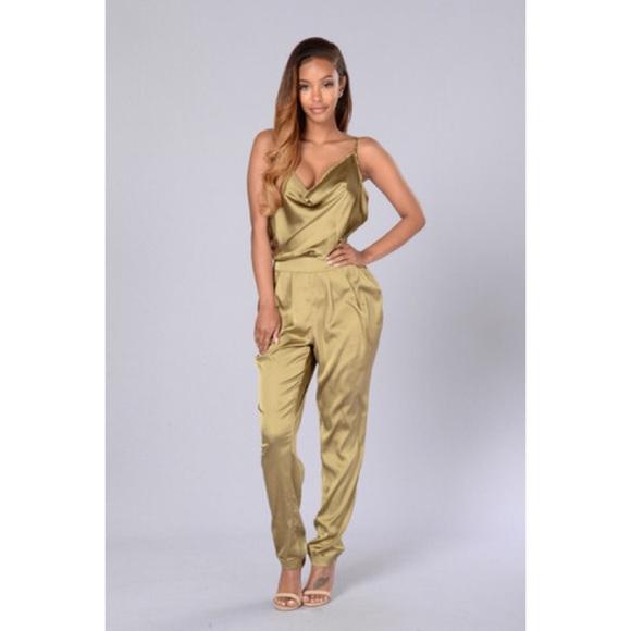 06a220209e6 Olive Green Fashion Nova Silk Jumpsuit