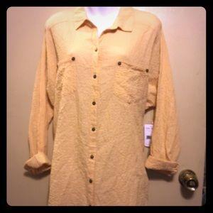 Free People Tops - Free People crinkle long sleeve shirt tail blouse