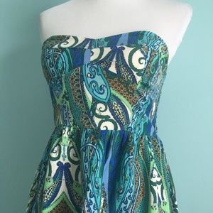 As U Wish Dresses & Skirts - Blue-Green Printed Dress