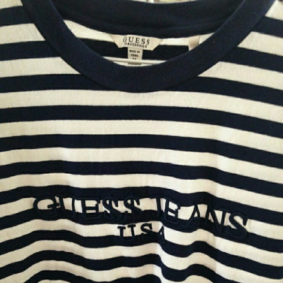GUESS ORIGINALS ASAP Rocky Striped T Shirt Small White Navy