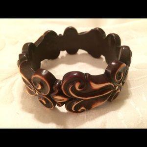 Wood carved bangle