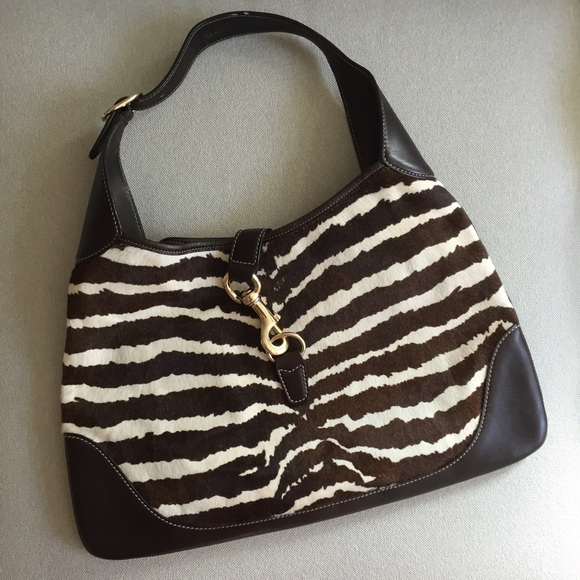 73% off Gucci Handbags - Gucci brown cream zebra jackie hobo bag ...