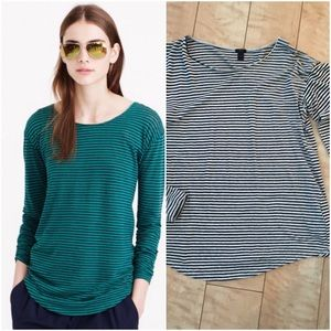 J.crew long-sleeve linen cotton t-shirt in stripe