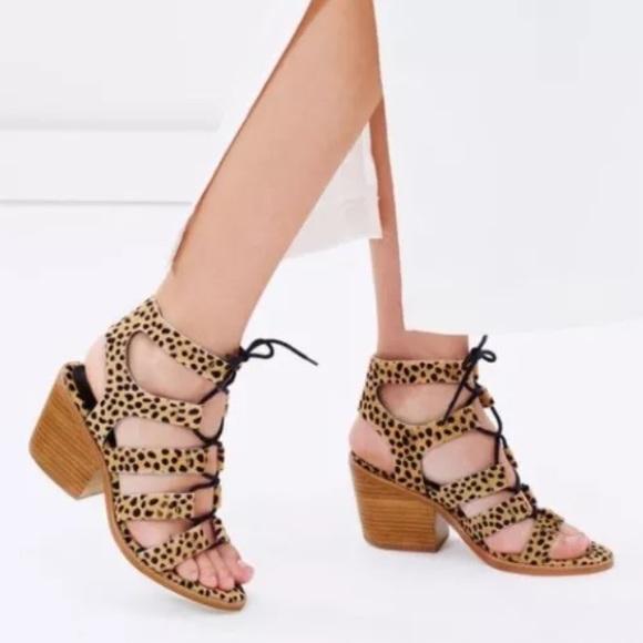 4aa6bac59b4 Sol Sana Shoes - Sol Sana Rudey Leopard Lace Up Heels - Size 9