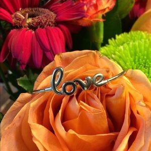 """love"" silver-toned bracelet"