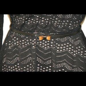 "Black ""as u wish"" dress with adorable belt!"