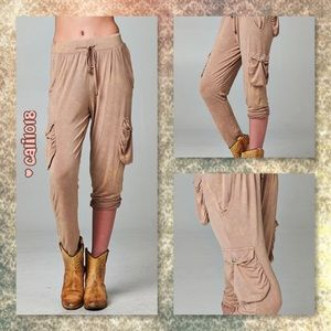Glam Squad 2 You Pants - JUST IN🆕Beige Burnout Relaxed Cargo Stye Pant