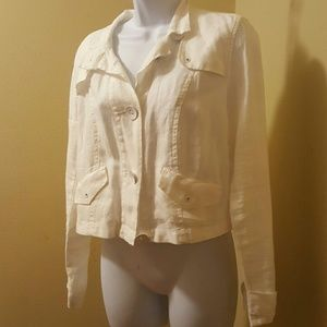 White CAbi Linen Jacket