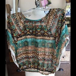 BONGO Tops - Tribal Pattern lace-lined Top
